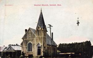 Larned Kansas~Baptist Church~Houses Next Door~Hanging Street Lamp~1910 Postcard