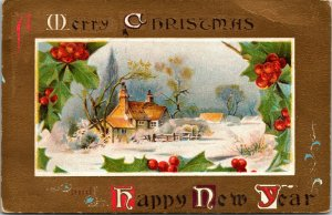 A MERRY Christmas Greeting - HOLLY - LAKE SCENE - GOLD - NEW YEAR POSTCARD - PC