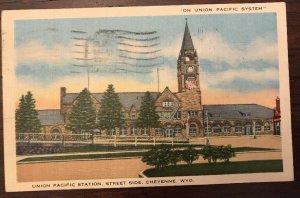 1945 Union Pacific Station Cheyenne Wyoming Postcard