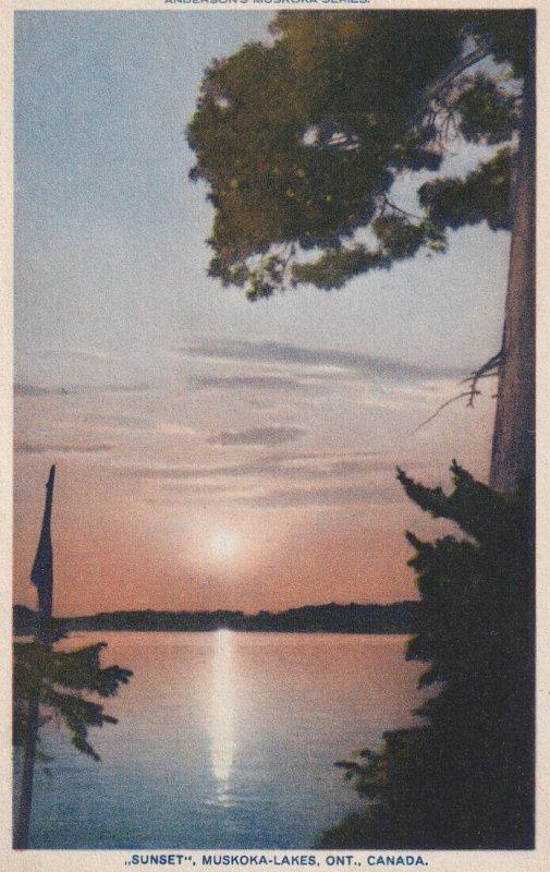 MUSKOKA, Ontario, Canada, PU-1931; Sunset, Muskoka-Lakes
