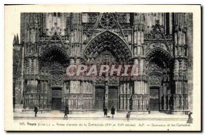 Old Postcard Towers I and L entrance doors of the cathedral XV and XVI century