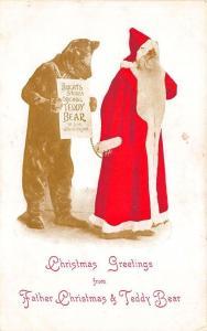 Christmas Santa Claus Brights Stores Original Teddy Bear Postcard