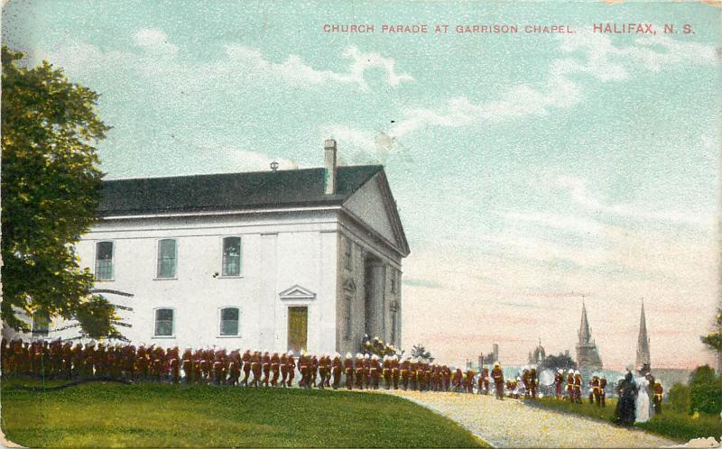 Vintage Postcard Church Parade At Garrison Chapel Halifax Nova Scotia Canada