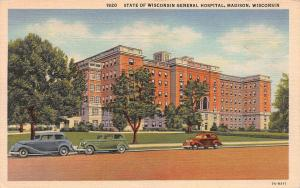 State of Wisconsin general Hospital, Madison, WI, Linen Postcard