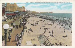 New Jersey Atlantic City Beach Scene Showing Sand Sculpture