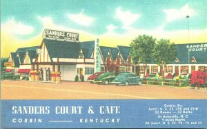 Vtg Linen Postcard - Corbin Kentucky - Sanders Court & Cafe - Unused