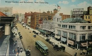 1917 Winter Garden Playhouse and Broadway, New York NY City Postcard Trolley