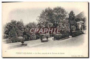 Old Postcard Vernet les Bains Park view from the terrace of the Casino