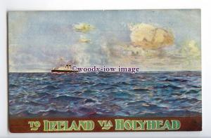 su3376 -  The Postal Route, Ireland via Holyhead - LNWR Poster Advert - postcard
