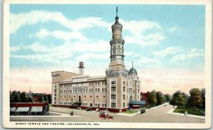 Indianapolis Indiana Postcard MURAT TEMPLE and Theatre Street View c1930s