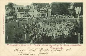 suriname, PARAMARIBO, Coronation Feasts, Public School Children Singing (1898)