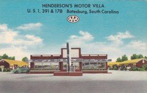 South Carolina Batesburg Henderson's Motor Villa and Restaurant sk1471
