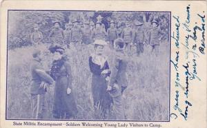 Military State Militia Encampment Soldiers Welcoming Young Lady Visitors To C...