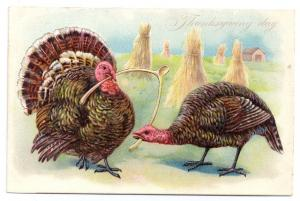 Tuck Thanksgiving Turkeys Pulling Wishbone Embossed Vintage Postcard Series 123