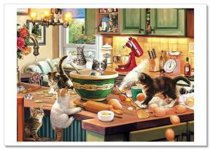 Kittens in Kitchen Interior Cat by Steve Read Russian Modern Postcard