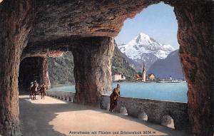 Switzerland Old Vintage Antique Post Card Axenstrasse mit Fluelen und Bristen...