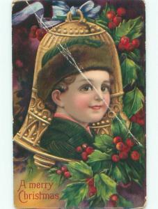 Pre-Linen christmas BRUNDAGE STYLE - BOY'S FACE ON GOLDEN BELL W7369