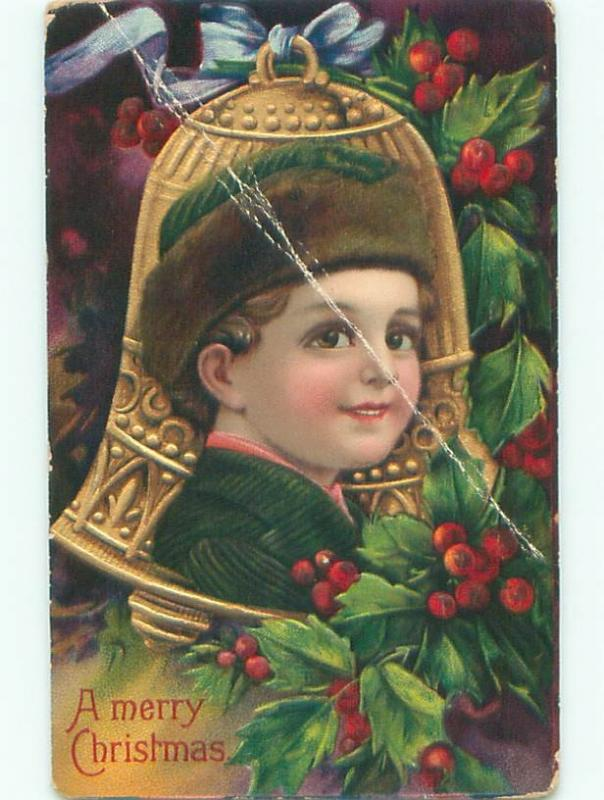 Pre-Linen christmas BRUNDAGE STYLE - BOY'S FACE ON GOLDEN BELL W7369