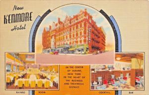 ALBANY NEW YORK~NEW KENMORE HOTEL-RAINBO ROOM-COCKTAIL BAR POSTCARD 1942