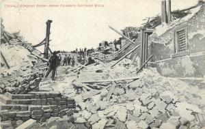 Palmero Italy Earthquake Ruins Among Shattered Walls 1911 Postcard