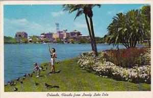 Florida Orlando Feeding The Pigeons On Lake Eola 1963