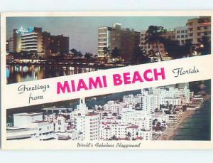 Pre-1980 TWO VIEWS ON CARD Miami Beach Florida FL ho7534