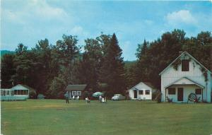 Bradford Vermont~The Garden Motor Court~Lounging Outside Cottages~1950s Postcard