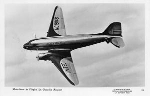 New York NY LaGuardia United Airlines Mainliner in Flight RPPC