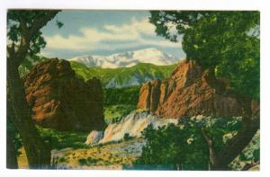 Dubois, Wyoming to Chanute, Kansas 1957 mailed Linen Postcard, Pikes Peak