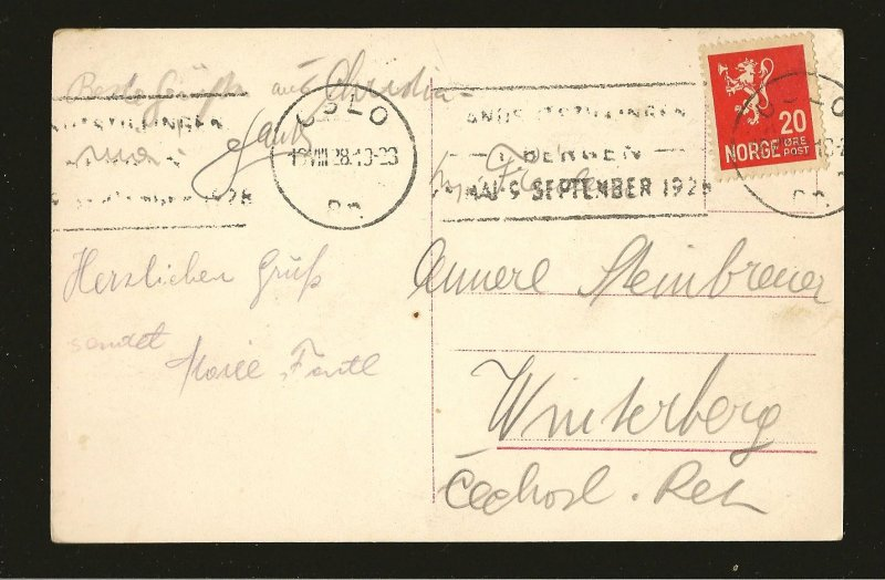 Norway Oslo Slottet Postmarked 1928 Eneret Mittet & Co Real Photo Postcard