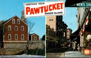 Rhode Island Pawtucket Greetings Showing Main Street and The Old Slater Mill