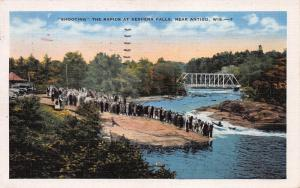 Shooting the Rapids at Keshena Falls, Wisconsin, Early Linen Postcard, Used