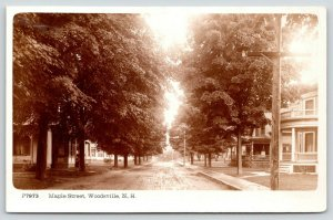 Woodsville NH~Maple Street Homes~Nice Houses~Big Porches~c1920 Underwood RPPC
