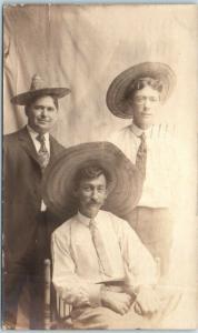 Vintage RPPC Real Photo Postcard Three Men in Straw Hats / Studio Portrait 1908