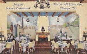 Illinois Chicago Jacques French Restaurant Restaurant Dining Room Curteich