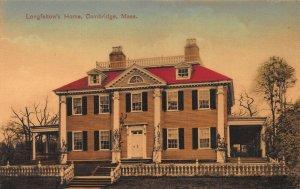 Longfellow's Home, Cambridge, Massachusetts, Early Handcolored Postcard, Unused