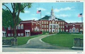 MA, High School, Newburyport, Massachusetts Linen Postcard, Curt Teich