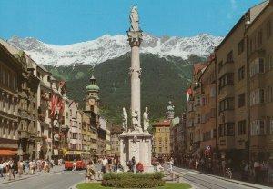 Innsbruck Austria vintage postcard - Maria-Theresia Street with St. Anne statue