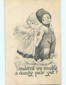 Pre-Linen signed WALL - GIRL AND BOY HOLD HANDS WELL BACK TO BACK HL2750