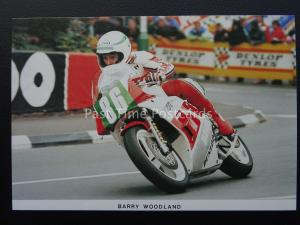 Isle of Man T.T. Races BARRY WOODLAND ON LOCTITE YAMAHA c1989 Postcard by Mannin
