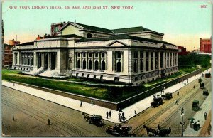 Vintage 1910s NYC Postcard NEW YORK LIBRARY BUILDING, 5th Ave. & 42nd St.