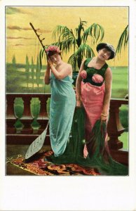 PC CPA ARABIAN TYPES AND SCENES, DANCER LADIES, Vintage Postcard (b17423)