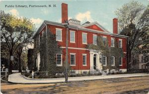 Portsmouth New Hampshire~Public Library~Building Covered with Vines~c1910 Pc