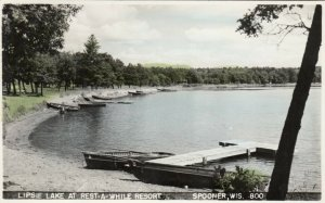RP; SPOONER , Wisconsin, 1930-40s ; Lipsie Lake, Rest-A-While Resort