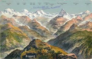 Zermatt mountains cross peaks map vintage postcard Austria
