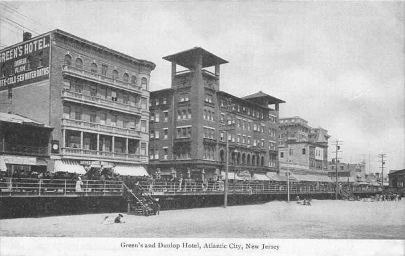 4998 NJ Atlantic City 1907  Green's Hotel and Dunlop Hotel  Beach View