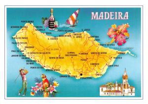 Map Postcard of Madeira, Funchal, Portugal Z12