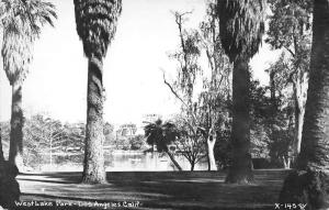 Los Angeles California birds eye view West Lake Park real photo pc Y13610