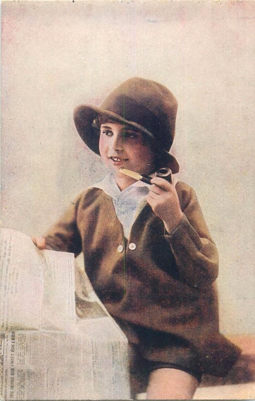 Chocolate Martougin advertising postcard pipe smoker girl newspaper hat