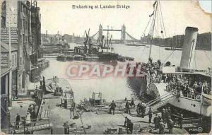Postcard Old Embarking at london bridge boat